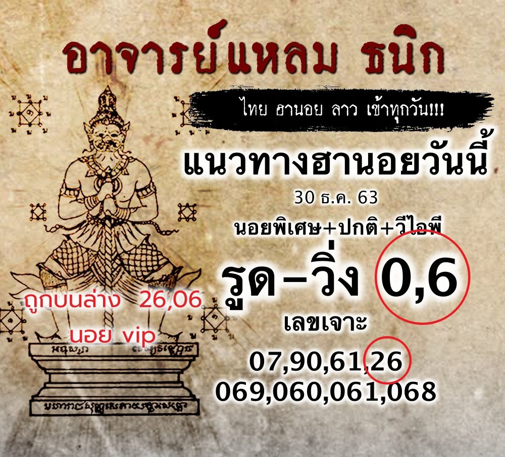 แนวทางหวยฮานอยพาถูกรางวัล หวยฮานอย 30/12/63