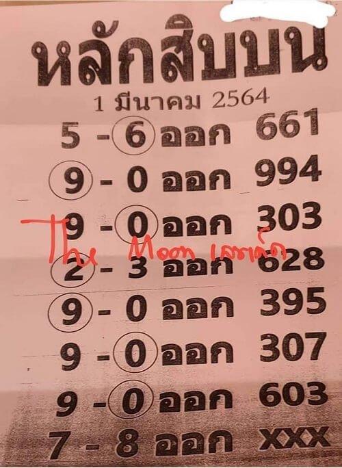 เลขเด็ดหลักสิบบน งวด 1 มี.ค. 64