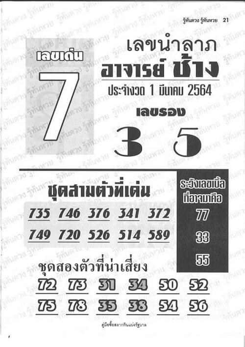 เลขเด็ด อ.ช้างนำลาภ 01/03/64