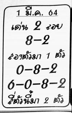 เลขเด็ด อ.เสือน้อย  01/03/64