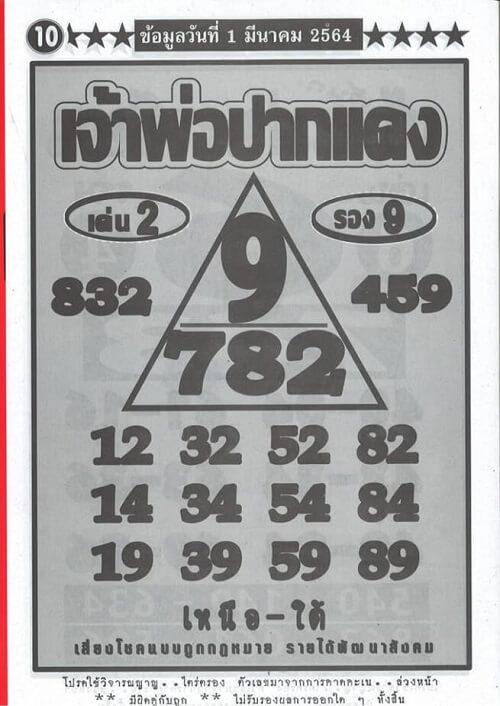 เลขเด็ด เจ้าพ่อปากแดง 01/03/64