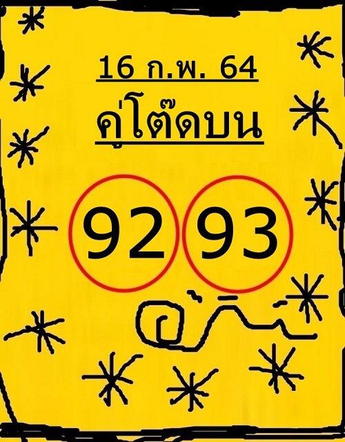 แนวทางหวยรัฐบาลไทยเลขเด็ดคู่โต๊ดบน 16/02/64