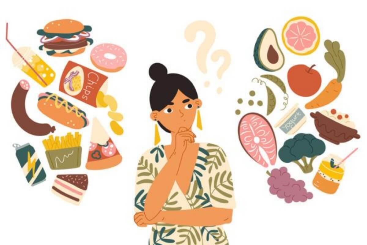 ผู้หญิงกำลังคิดถึงอาหาร