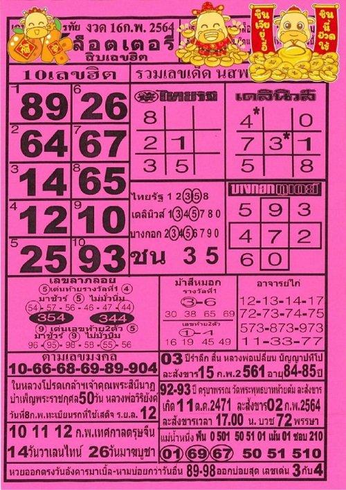 เลขเด็ด OK ลอตเตอรี่ 16/02/64