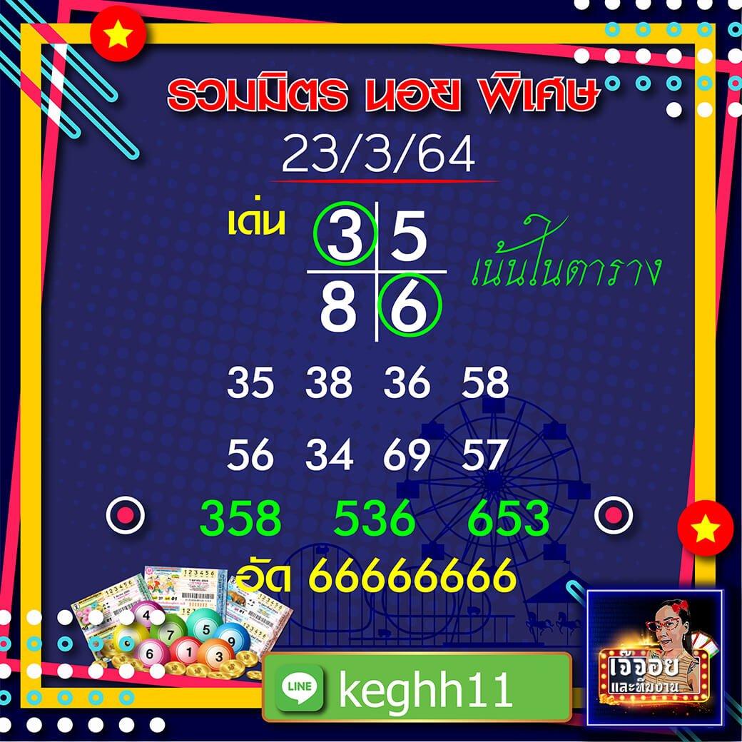 เจ๊จอย พารวย แนวทางหวยฮานอย 23/03/64