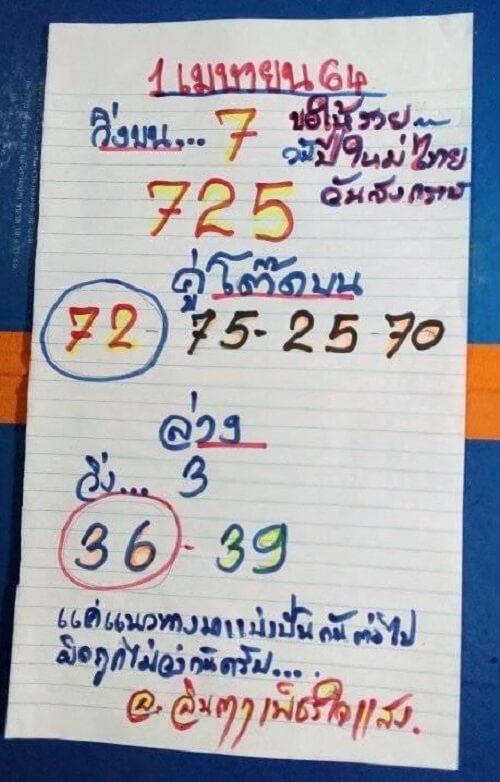หวยทำมือ อ.อินตา 01/04/64