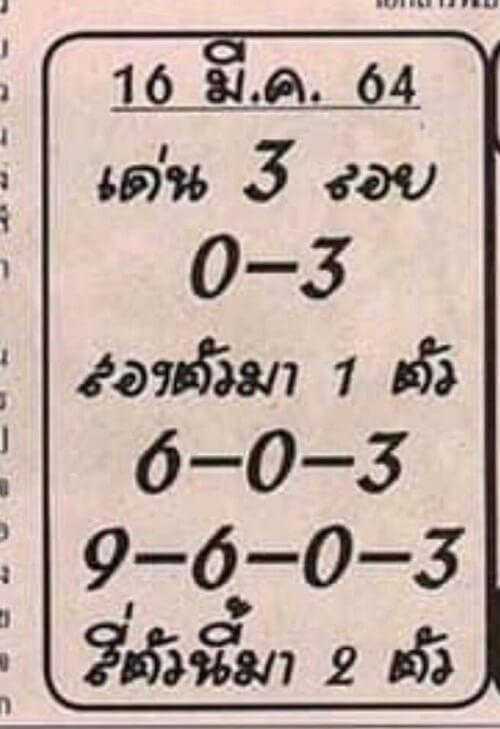 เลขเด็ด อ.เสือน้อย 16/03/64