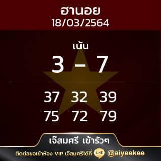 เจ๊สมศรี เข้ารัวๆ หวยฮานอย 18/03/64