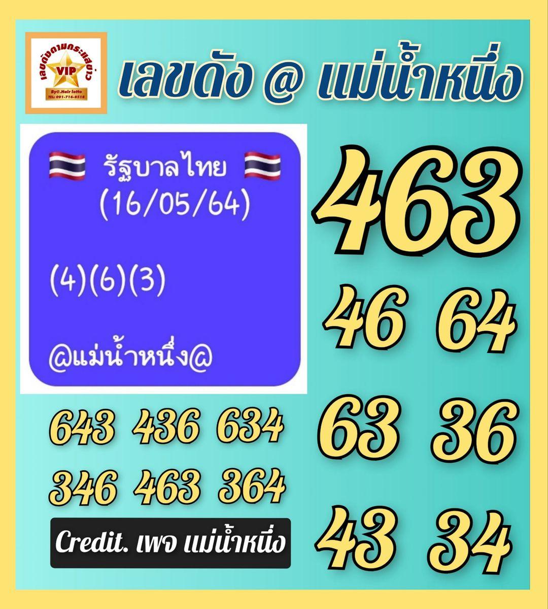 หวยแม่น้ำหนึ่ง 16/5/64