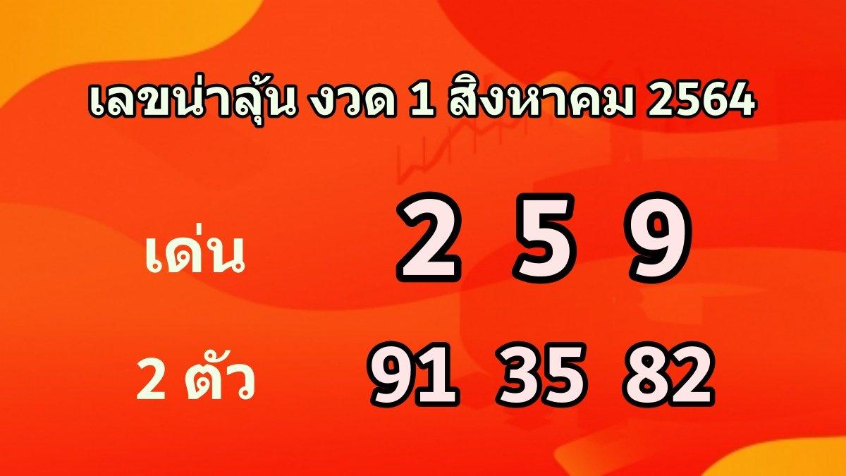 เลขเด็ดลุ้นหวย งวด 1 สิงหาคม 2564